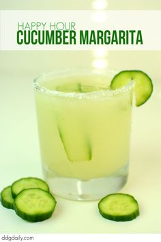 Cucumber Margarita cocktail recipe: It's happy hour at DDG!  | lifestyle feature recipes  picture Cucumber Margarita, Margarita Cocktail, Margarita Recipes, Cocktail Recipes, Cocktail Drinks, Cucumber Cocktail, Party Drinks, Fun Drinks, Yummy Drinks