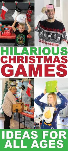 45 Hilarious Christmas Party Games Hilarious Christmas party games for all ages and occasions! Minute to win it games, funny gift exchange ideas, games for kids, and even games for a work party! Perfect for groups and office Christmas parties! Funny Christmas Party Games, Christmas Party Games For Adults, Xmas Games, Adult Christmas Party, Christmas Games For Family, Holiday Games, Adult Party Games, Christmas Humor, Christmas Holiday