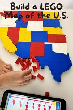 Lego Projects, Projects For Kids, Crafts For Kids, United States Map, 50 States, Building For Kids, Lego Building, Lego Challenge, State Map