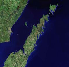 Satellite view of Door County, Wisconsin.  Vacation land of beauty, art and great living.