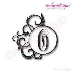 Monogram Sets - Fancy Round Frames Monogram Alphabet Font on sale now at Embroitique!