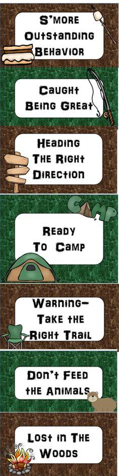 Camping Fun! Camping Themed Classroom Behavior Clip Chart