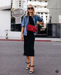 Fashion Jackson Wearing Denim Jacket Black Tshirt Black Silk Skirt Red Chanel Handbag Alexandre Birman Clarita Black Sandals # Casual Outfits with flats leopards Cl Fashion, Trend Fashion, Denim Fashion, Fashion Outfits, Style Fashion, Fashion Ideas, Fashion Quotes, Fashion Tips, Style Année 80