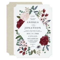 Shop Romantic Florals Wedding Invitation created by Whimzy_Designs. Personalize it with photos & text or purchase as is! Burgundy Wedding Invitations, Vintage Wedding Invitations, Watercolor Wedding Invitations, Floral Invitation, Wedding Invitation Cards, Bridal Shower Invitations, Custom Invitations, Wedding Cards, Invites