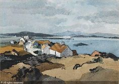 HILDER Rowland - Highland cottages; Cottages by a loch