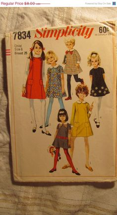 SALE Uncut 1960's Simplicity Sewing Pattern 7834 by EarthToMarrs, $6.40