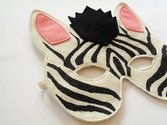 Zebra Mask by BHBKidstyle: Made of felt and fashioned to fit comfortably for eating or drinking! #Kids #Mask #Zebra #BHBKidstyle