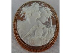 Stunning Large Antique 14k Gold NYX EOS Carved Shell Cameo Brooch   eBay