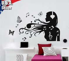 Super wall stickers music headphones 46 ideas The Active Noise Can Music Notes Art, Music Wall Art, Music Decor, Bedroom Themes, Girls Bedroom, Bedrooms, Wall Stickers, Wall Decals, Music Bedroom
