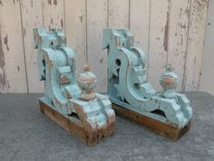 Best baby blue pair Victorian corbels Ornate by bisforbella, $228.00