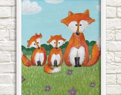Fox Stack Painting Print Fox Art Wall art animal by foxfeather