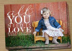 "Photo Christmas Card, Holiday Card: PRINTABLE (""All You Need is Love"" Christmas custom card). $15.00, via Etsy."