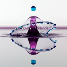 Water droplets frozen in high speed photographs by Jim Kramer