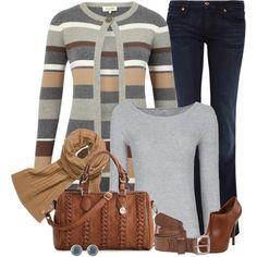 Jeans Outfit (Grey + Brown)
