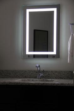 Lighted Image LED Bordered Illuminated Mirror with Bluetooth Speakers - Large Backlit Bathroom Mirror, Bathroom Mirror Cabinet, Bathroom Images, Led Mirror, Mirror Cabinets, Wall Mounted Mirror, Modern Bathroom, Master Bathroom, Bathroom Ideas