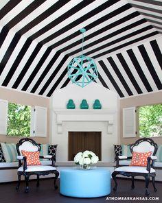 A Haute Outdoor Retreat | At Home Arkansas | March 2014 | Photographer: Nancy Nolan | Designer: Tobi Fairley @Tobi Fairley @POlaRT designs #stripes #cabana #blackandwhite #aqua #restorationhardware