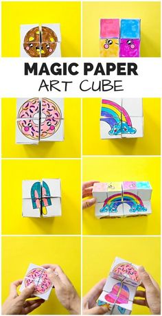 DIY Magic Paper Art Cube Get the free coloring templates to make this mesmerizing paper cube that transforms Fun game or puzzle for the kids Video included to show you ho. Paper Crafts For Kids, Crafts For Kids To Make, Diy Crafts For Kids, Projects For Kids, Fun Crafts, Arts And Crafts, Kids Diy, Paper Art Projects, Diy Projects