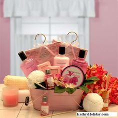 Pretty in Pink Relaxation Gift Basket, www.kathysholiday.com