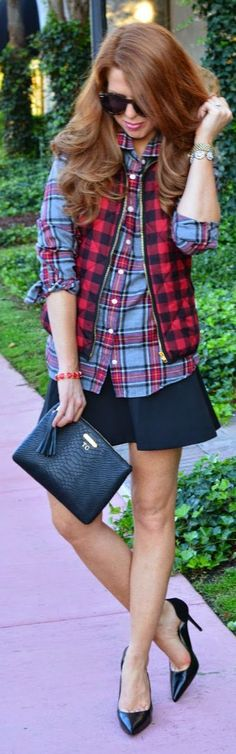 Black And Red Check Vest