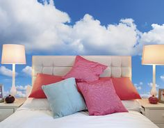Wallpaper Mural Tricks: How to Choose and Install Bedroom Wallpaper Murals, Wall Murals, Photo Wallpaper, Modern Wall, Bedroom Decor, Clouds, Sky, Blue, Heaven