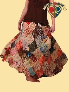 DIAMONDS ARE A GIRL'S BEST FRIEND PATCHWORK PRINT SKIRT