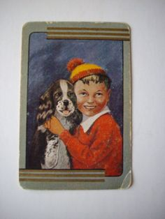 One Single Vintage SWAP CARD  Exclusive Coles Production  B&W Dog +boy No name #sold $3.00