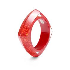 Rory's Red Resin Bangle - a sterling silver bracelet