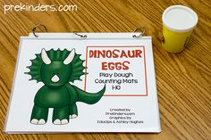 Printable Dinosaur Play Dough Math Mats for Preschool