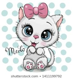 Cartoon white Kitten with a pink bow on a dots background. Cute Cartoon white Kitten with a pink bow on a dots background stock illustration Cartoon Cartoon, Kitten Cartoon, Cartoon Elephant, Cartoon Characters, Cartoon Heart, Cute Kittens, Cats And Kittens, Ragdoll Kittens, Tabby Cats