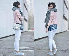 soft shades, pink leather jacket, white jeans, baby blue shoes & grey scarf