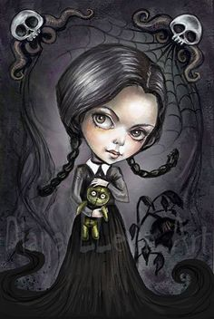 "Gloomy Goth Girl - 8.5"" x 11"" Wednesday Addams Print -Cute Creepy Art by DianaLevinArt on Etsy https://www.etsy.com/listing/228530643/gloomy-goth-girl-85-x-11-wednesday"