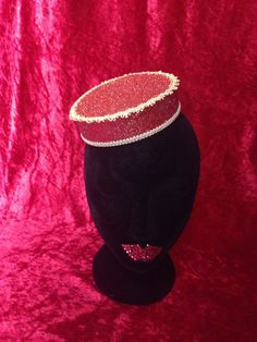 Vintage glamour cigar cigarette girl costume swing vaudville cabaret costume pillbox pill box handmade glitter red gold trim ticket taker fancy dress hat by ParodyPetals
