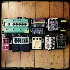 Rebuilt my guitar pedalboard today. Needs more velcro and a tidy, but it's a bit of a party right now!!