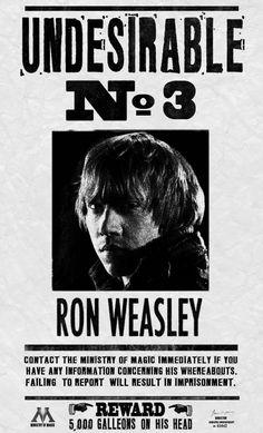"""Résultat de recherche d'images pour """"affiche avis de recherche ron weasley"""""""