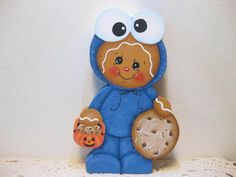 HP Gingerbread Cooie monster trick or treater SHELF SITTER hand painted USA
