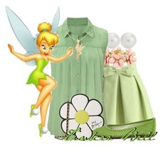"""""""Tinker Bell"""" by the-beautiful-nightmare ❤ liked on Polyvore featuring Chicwish, Blue Nile, Betsey Johnson, French Sole FS/NY, Disney and murphysDB"""