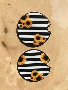 Sunflower Car Coaster Set Of 2 Car Accessories Gift For Women