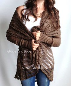 Over-sized Knit Cardi - brown knit cardigan - knit sweater - knitted cardi - open knit - grace and lace