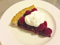 paleo Mix-Berry Tart With Coconut Whipped Cream.  Crust notes - change 1/2 cup pecans to 1/2 cup cashews, added an egg and some starch.