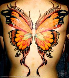 this butterfly tattoo design has a devilish essence to it the tattoo ...
