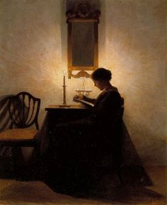 books0977:  Woman Reading by Candlelight (1908). Peter Ilsted (Danish, 1861-1933). Oil on canvas. Ilsted's art expresses the essence of life in Copenhagen at the turn of the twentieth century:  tranquility and orderliness, contentment with home and family and the isolation from the political and social turmoil in the countries to the south.