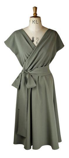 71b21ea900a Baylis   Knight Khaki WRAP Bombshell Short Sleeve Midi Dress Vintage Dita  Retro Classic 40s Pin Up. Vintage Boutique ...
