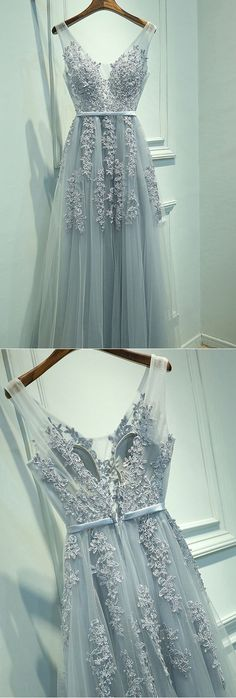 V-neck Evening Dresses, A Line Formal Dresses, Applique Prom Dress