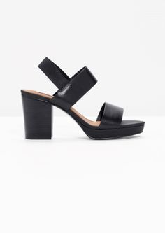& Other Stories image 1 of Heeled Leather Sandals in Black