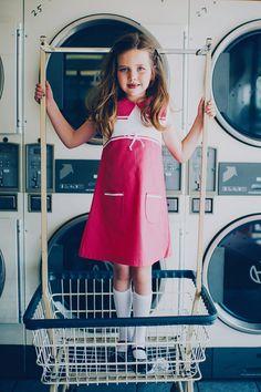 1960's Style Retro Pink Square Collar Dress by faithworks4u