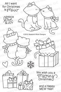 Newton's Christmas Cuddles | 4x6 Photopolymer Stamp Set | Newton's Nook Designs