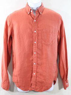 J.Crew Shirt Mens Small Button Front Burnt Orange Slim Fit Linen Baird Mcnutt #JCrew #ButtonFront