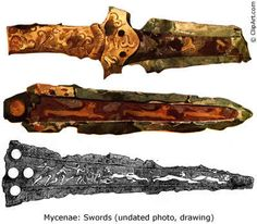Among the artifacts found the grave circles at Mycenae are some very impressive swords and daggers. Above are three examples. The top two are bronze daggers with inlaid gold, silver, and copper figures depicting hunt scenes. On the second lions are clearly visible. The bottom drawing is of a sword with a more extensive hunting scene - one lion is being trapped with two others running away, one of which has his head turned to look back.