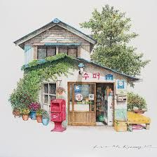 (Korea) A old small store, 2017 by Lee Me Kyeoung ). with a pen use the acrylic ink on paper. Art And Illustration, Building Illustration, Watercolor Illustration, Watercolor Paintings, Illustrations, Art Sketches, Art Drawings, Building Art, Korean Art