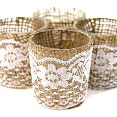 Lace Burlap Wrapped Glass Votive Candle Holders [424186] : Wholesale Wedding Supplies, Discount Wedding Favors, Party Favors, and Bulk Event...